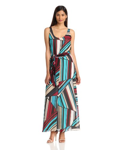 DKNYC Women's Sleeveless Maxi Dress, Vamp, 8