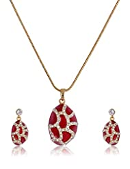 Estelle Gold Plated Necklace Set With Crystals And Red Color (8428)