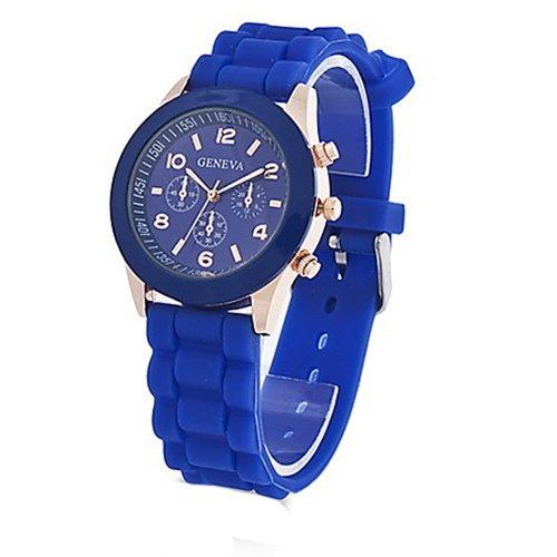 Unisex Geneva Silicone Jelly Gel Quartz Analog Sports Wrist Watch (Dark Blue) (Silicone Jelly Watch For Men compare prices)