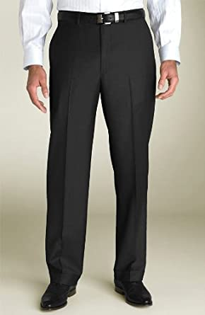 Presidential Suit Separates Slacks Signature Collection Suit Trouser Italian Super 140s Flat Front Pants Jet Black (28 Waist Unhemmed)