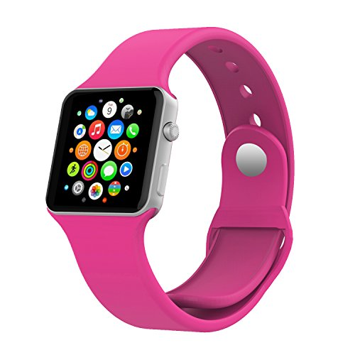 Apple Watch Band, MoKo Soft Silicone Replacement Sport Band for 42mm Apple Watch Models, Barbie PINK (3 Pieces of Bands Included for 2 Lengths, Not Fit 38mm version 2015)