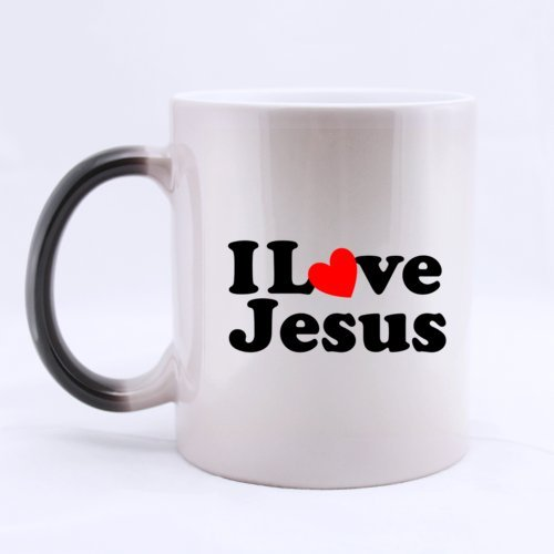 "Belief Christian Design ""I Love Jesus"" Ceramic Morphing Home/Office Mug 11 Ounces Heat Sensitive Color Changing Mug - Great Gift Idea"