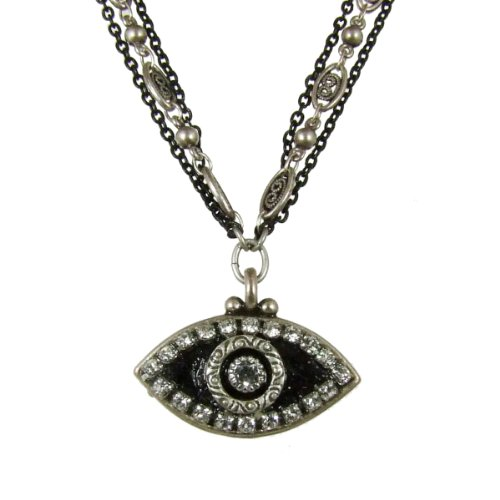 Michal Golan Crystal, Silver and Black Evil Eye Pendant Necklace