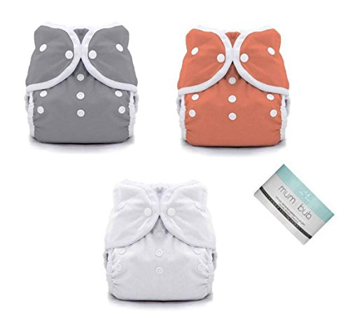 Thirsties Duo Wrap Snaps Diaper Covers 3 pack Combo Fin, Coral, White Sz 1