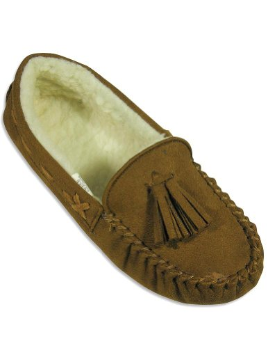 Image of Private Label - Ladies Moccasin Slipper, Brown 24995 (B004Z93ZRC)