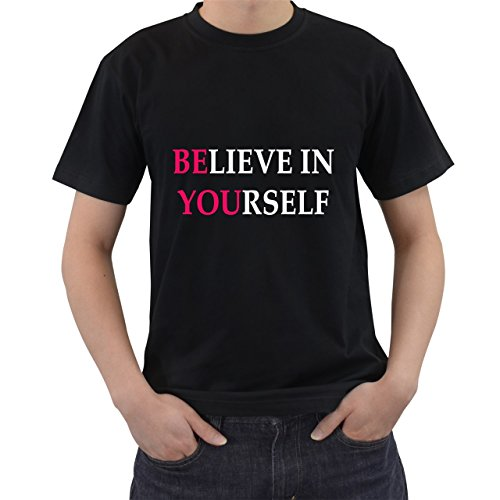 Believe In Yourself Motivation T-Shirt Short Sleeve By Saink Black Size XL