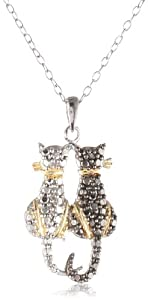 Sterling Silver Black-Diamond Two Cat Pendant Necklace