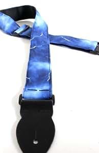 uk made lightning bolt blue guitar strap electric acoustic bass 6 pick musical. Black Bedroom Furniture Sets. Home Design Ideas