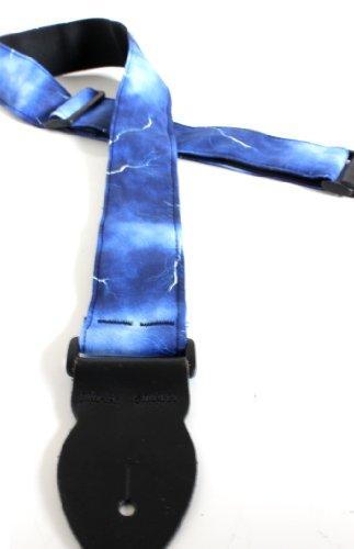 Uk-Made Lightning Bolt Blue Guitar Strap Electric Acoustic Bass + 6 Pick