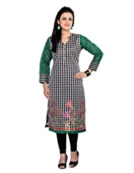 Ekvi Green CHANDERI SILK Embroidered Kurti For Ladies