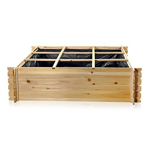 Holz-Hochbeet-Pflanzkasten-mit-9-Fcher-140-cm--140-cm--36-cm-L-x-B-x-H