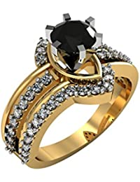 Suvam Jewels Designer Black Gemstone 18k Yellow Gold Plated 92.5 Sterling Silver Ring