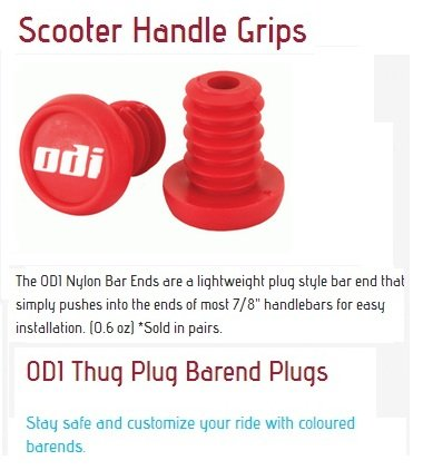 Odi Bar End Plugs For Scooters and BMX Bikes 1 Pair (RED) (Scooter Handlebar Plugs compare prices)
