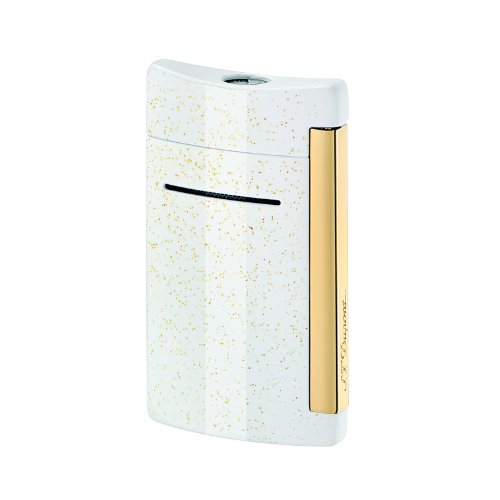 S.T. Dupont Minijet Lighter - White Glitter & Yellow Gold Lacquer 10059