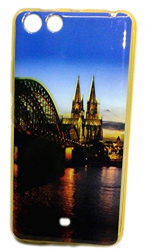 Premium Soft Fancy Gold Metallic Print Back Cover For Panasonic P55 Novo - Tower Design