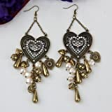 1 Pair Metal Rhinestone Faux Pearl Beads Dangle Hook Earrings