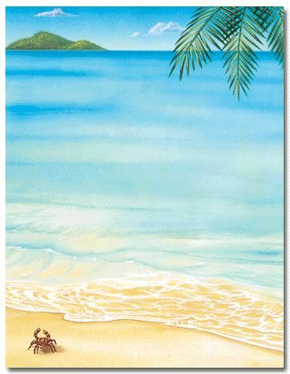 Tropical Beach Stationery Paper - 80 Sheets