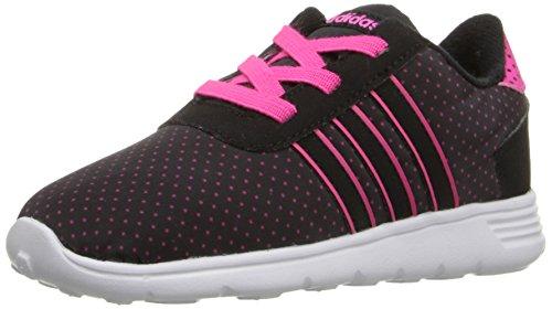 adidas NEO Lite Racer INF Runner Sneaker (Infant/Toddler),Black/Black/Shock Pink,5 M US Toddler