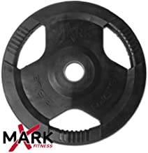 Xmark Rubber Coated Tri-Grip Olympic Plate Weight 35-Pounds