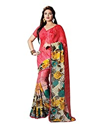 Look N Buy Georgette Saree With Blouse Piece(50S4938_Pink)