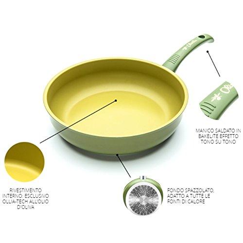 Tegame 1 manico ANTIADERENTE ALL'OLIO D'OLIVA 100% Made in Italy diametro 28cm iLLa Olivilla cucina