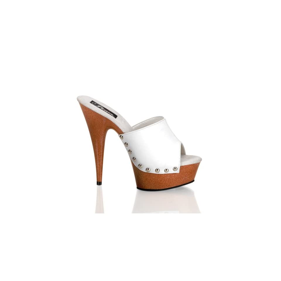 de9fce921dde Pleaser Delight 601 12 5.75 Inch Stiletto Heel Faux Wood Platform Slide  Size 8