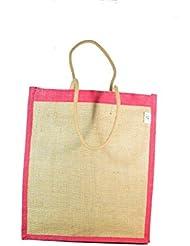 Jute N Craft Unisex Laminated Jute Handbag Pink&Brown