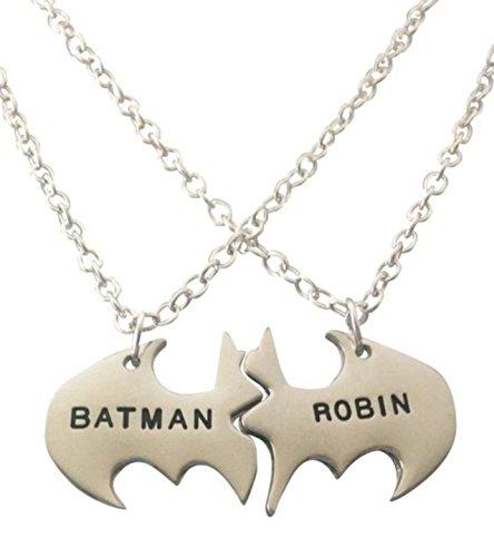 "DC Comics BATMAN and ROBIN BBF 2 Piece Metal Necklace 18"" Chain"