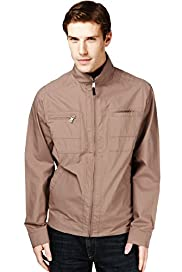Autograph Pure Cotton Funnel Neck Jacket with Stormwear&#8482;