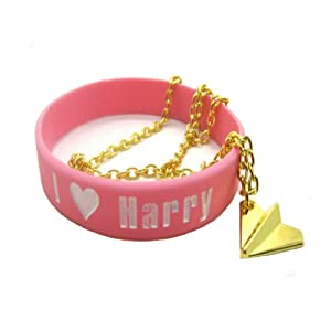 One Direction Golden Necklace with I Love Harry Pink Bracelet Wristband from Molie