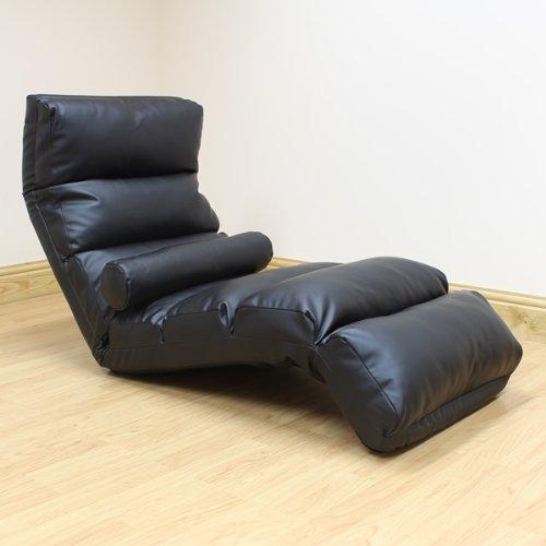 hartleys-black-faux-leather-adjustable-floor-lounger
