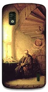 The Racoon Lean Philosopher in meditation - Rembrandt hard plastic printed back case / cover for LG Nexus 4