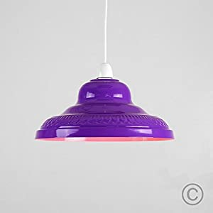 Vintage Retro Style Gloss Purple Metal Easy Fit Ceiling Pendant Lamp Shade from MiniSun