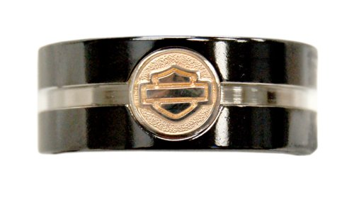 Harley-Davidson Stripe Silhouette Black Titanium Ring with .925 Silver Insert (11)