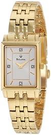 Bulova Womens 97P102 Diamond Classic Goldtone Watch