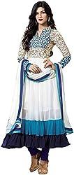 DHAWANI MARKETING WHITE DESIGNER DRESS MATIREAL