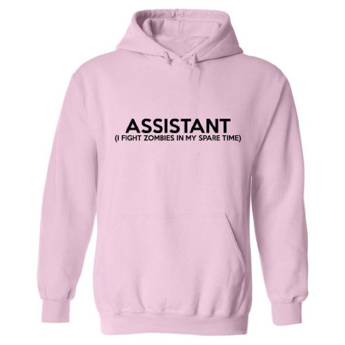 Zombie Underground Assistant (I Fight Zombies) Adult Hooded Sweatshirt (Pink, 4Xl) front-224554