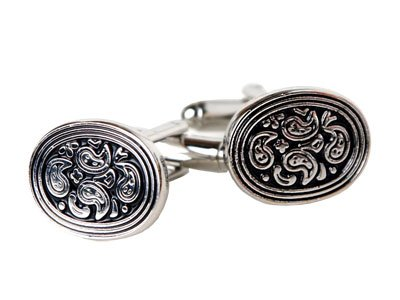 Paisley Oval Cufflinks with Gift Box