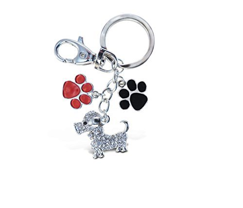 Puzzled Dog and Paws Sparkling Charm Keychain