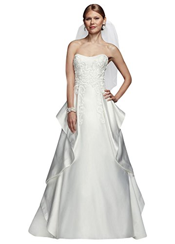 Duchess Satin Ball Gown Wedding Dress with Cascade Detailing Style CPK650,...