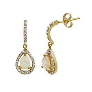 Click to buy 18K Yellow Gold Overlay Sterling Silver Diamond Accent Teardrop Earrings from Amazon!