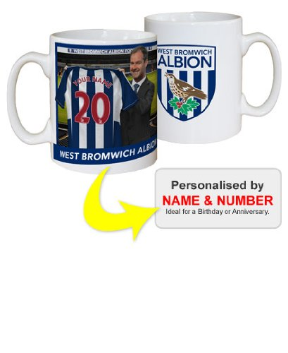 Football Gift West Bromwich Albion FC Manager Personalised Mug YOUR Surname and Number
