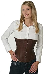 Steel boned Corset Real Genuine Leather Underbust Brown by fapedo
