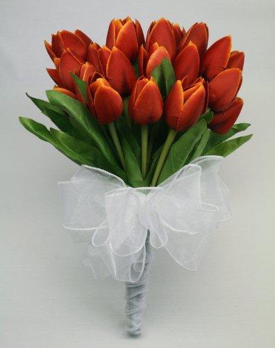 Tulip Bouquet (Orange/Red) 27 Tulips - Silk Wedding Bouquet