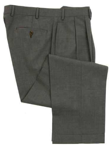 Ralph Lauren Mens Double Pleated Medium Gray Wool Dress Pants - Size 40 X29