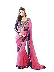SayShopp Fashion Women's Saree with Blouse Piece (Pink)