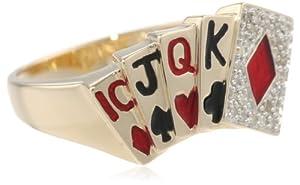 Men's 10k Yellow Gold Diamond Poker Ring (1/8 cttw, I-J Color, I2-I3 Clarity), Size 10