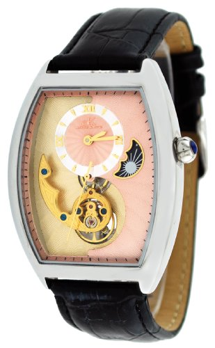 Adee Kaye #AK8024-M9 Men's Motif 3-D Sun Moon Partial Skeleton Automatic Watch