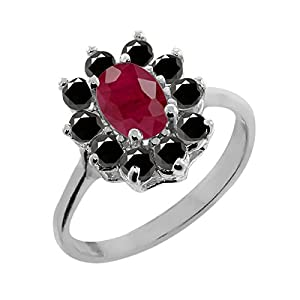 1.35 Ct Oval Red Ruby Black Diamond 18K White Gold Ring