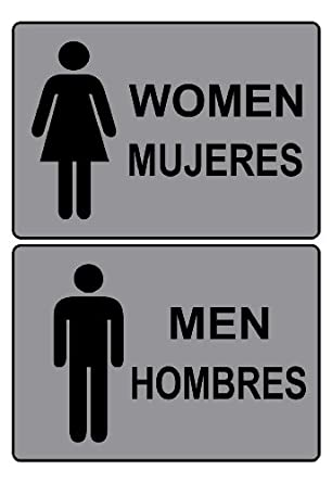 Compliancesigns Men Women Pvc Restroom Signs Set 7 X 5 With English Spanish Gray Amazon